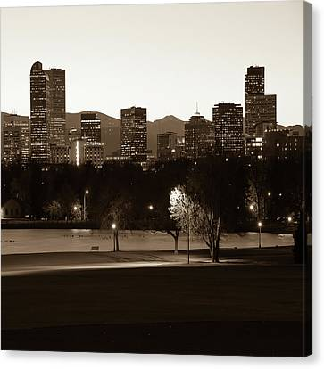 Canvas Print featuring the photograph Denver Skyline Square Format - Sepia by Gregory Ballos