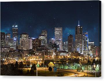 Starry Canvas Print - Denver Under A Night Sky by Juli Scalzi