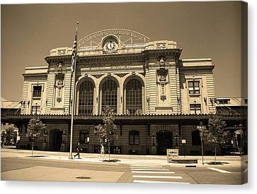 Canvas Print featuring the photograph Denver - Union Station Sepia 5 by Frank Romeo