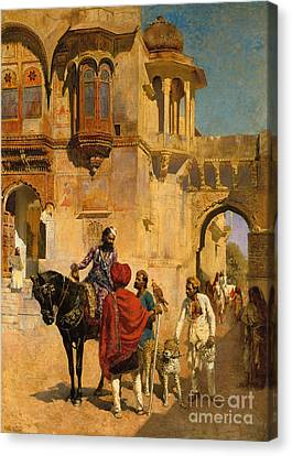 Departure For The Hunt In The Forecourt Of A Palace Of Jodhpore Canvas Print by Edwin Lord Weeks