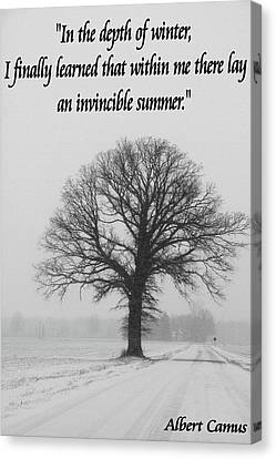 Depth Of Winter Quote Canvas Print