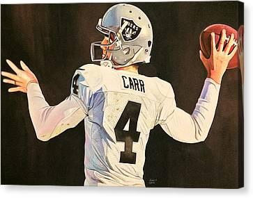 Derek Carr Oakland Raiders  Canvas Print by Michael  Pattison