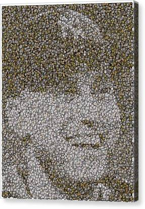 Canvas Print featuring the mixed media Derek Jeter Baseballs Mosaic by Paul Van Scott