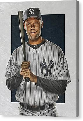 Derek Jeter New York Yankees Art Canvas Print by Joe Hamilton