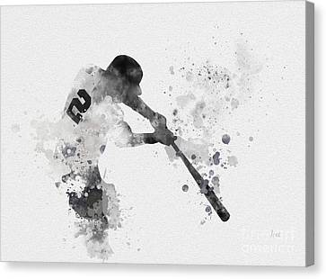 Major Leagues Canvas Print - Derek Jeter by Rebecca Jenkins