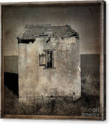 Derelict Hut  Textured Canvas Print by Bernard Jaubert