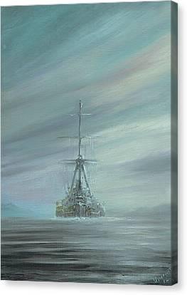 Derfflinger At Scapa Flow 1919 Canvas Print by Vincent Alexander Booth