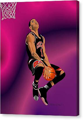 Derrick Rose 3 Canvas Print by Walter Oliver Neal