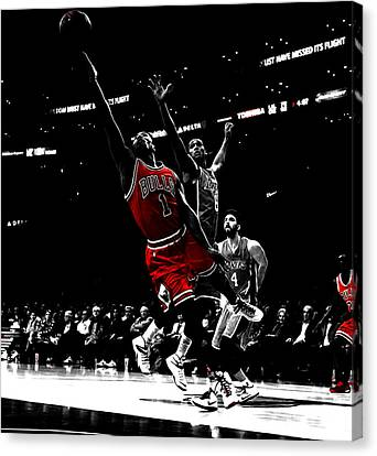 Derrick Rose Finger Roll Canvas Print by Brian Reaves