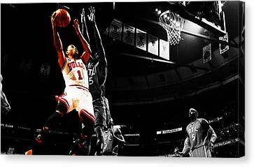 Derrick Rose The Raging Bull Canvas Print by Brian Reaves