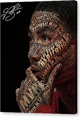 Derrick Rose Typeface Portrait Canvas Print by Dominique Capers