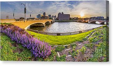 Des Moines From The River Canvas Print by Twenty Two North Photography