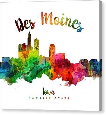 Des Moines Iowa 24 Canvas Print by Aged Pixel