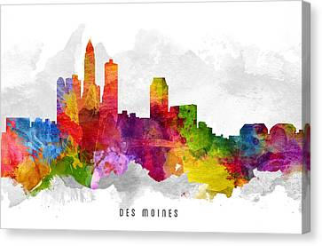 Des Moines Iowa Cityscape 13 Canvas Print by Aged Pixel
