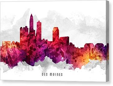 Des Moines Iowa Cityscape 14 Canvas Print by Aged Pixel