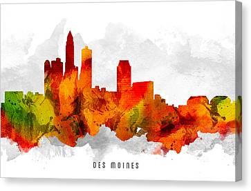 Des Moines Iowa Cityscape 15 Canvas Print by Aged Pixel