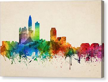 Des Moines Iowa Skyline 05 Canvas Print by Aged Pixel