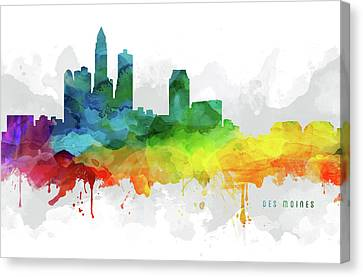 Des Moines Skyline Mmr-usiadm05 Canvas Print by Aged Pixel