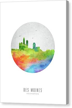Des Moines Skyline Usiadm20 Canvas Print by Aged Pixel