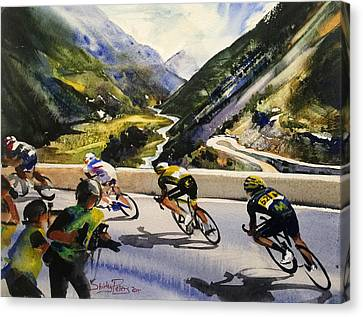 Descending The Alps Canvas Print by Shirley Peters