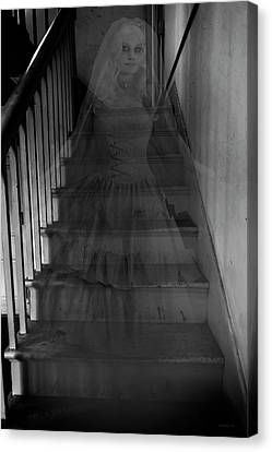 Ghostly Canvas Print - Descending The Stairs - Halloween by Brian Wallace