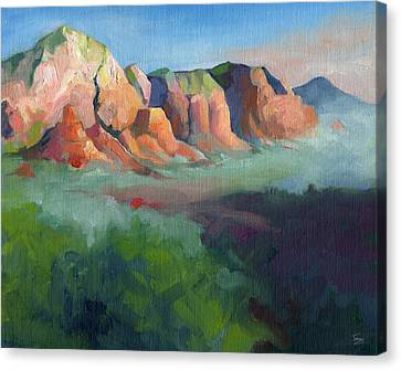 Desert Afternoon Mountains Sky And Trees Canvas Print by Catherine Twomey