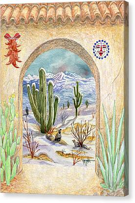 Red Roof Canvas Print - Desert Christmas by Marilyn Smith