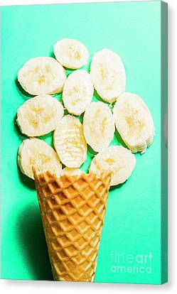 Desert Concept Of Ice-cream Cone And Banana Slices Canvas Print by Jorgo Photography - Wall Art Gallery