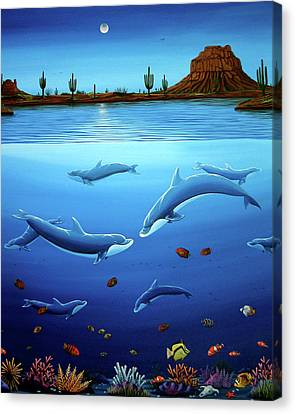 Desert Dolphins Close  Canvas Print by Lance Headlee
