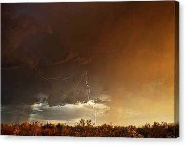 Canvas Print featuring the photograph Desert Fire by James Menzies