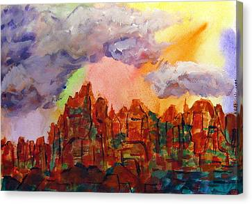 Canvas Print featuring the painting Desert Fortress by Arlene Holtz
