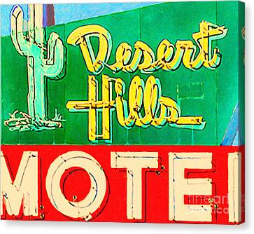 Desert Hills Motel Canvas Print by Wingsdomain Art and Photography