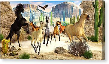 Canvas Print featuring the photograph Desert Horses by Peter J Sucy