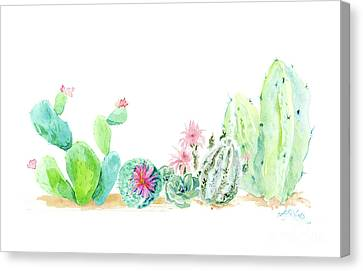 Airy Canvas Print - Desert In Bloom 2, Watercolor Desert Cacti N Succulents  by Audrey Jeanne Roberts