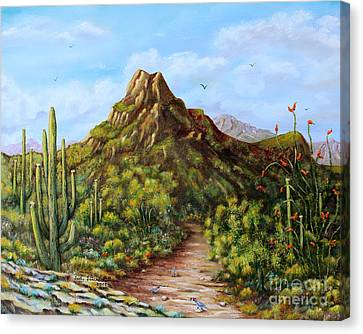 Canvas Print featuring the painting Desert Landscape Gambel's Quail by Judy Filarecki