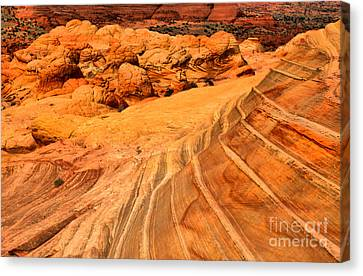 Desert Lines And Brain Rocks Canvas Print