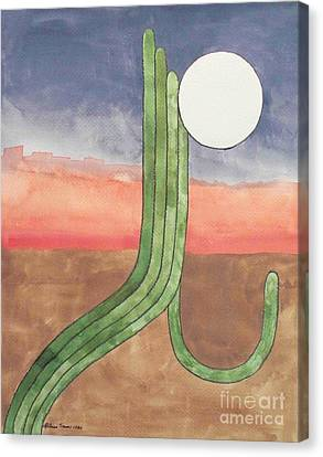Canvas Print featuring the painting Desert Moon by LeAnne Sowa