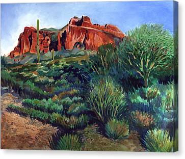 Desert Mountain Tapestry Canvas Print by Kent Looft