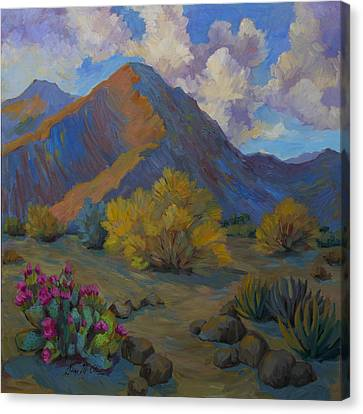 Verde Valley Canvas Print - Desert Palo Verde And Beavertail Cactus by Diane McClary