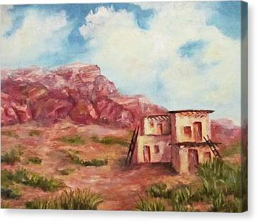 Canvas Print featuring the painting Desert Pueblo by Roseann Gilmore