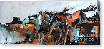 Canvas Print featuring the painting Desert Racers by Cher Devereaux