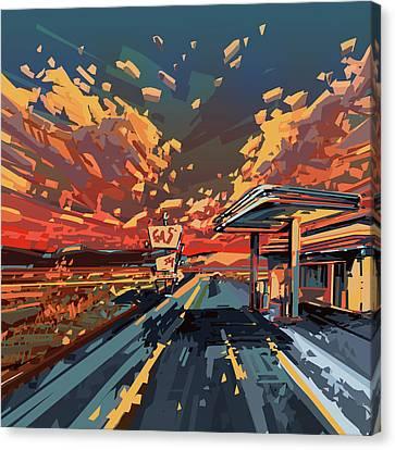 Desert Road Landscape 2 Canvas Print by Bekim Art