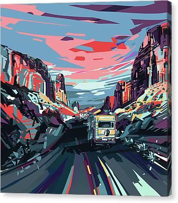 Desert Road Landscape Canvas Print by Bekim Art