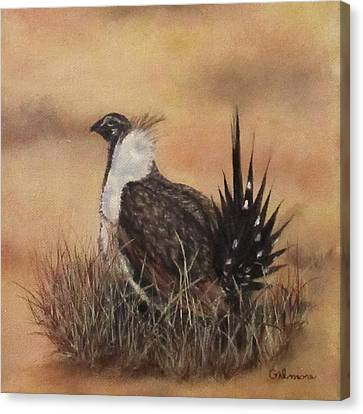 Canvas Print featuring the painting Desert Sage Grouse by Roseann Gilmore