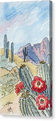 Claret Canvas Print - Desert Scene One Ink And Watercolor by Marilyn Smith