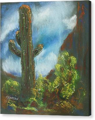 Canvas Print featuring the painting Desert Sentinel by Marilyn Barton