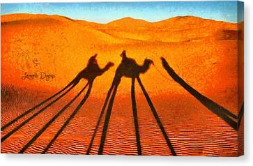 Camel Canvas Print - Desert Shadow by Leonardo Digenio