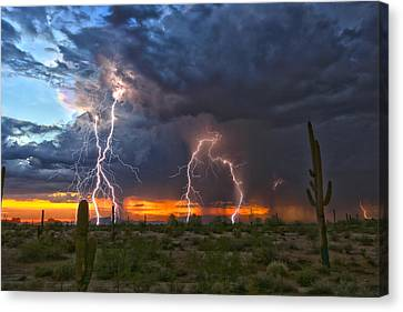 Canvas Print featuring the photograph Desert Strike by James Menzies