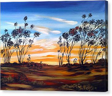 Canvas Print featuring the painting Desert Sunset by Roberto Gagliardi