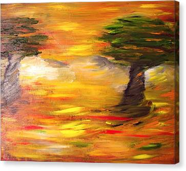 Canvas Print featuring the painting Desert Trees by Evelina Popilian